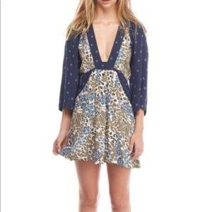Free People Talulla Printed Mini Dress Blue Combo